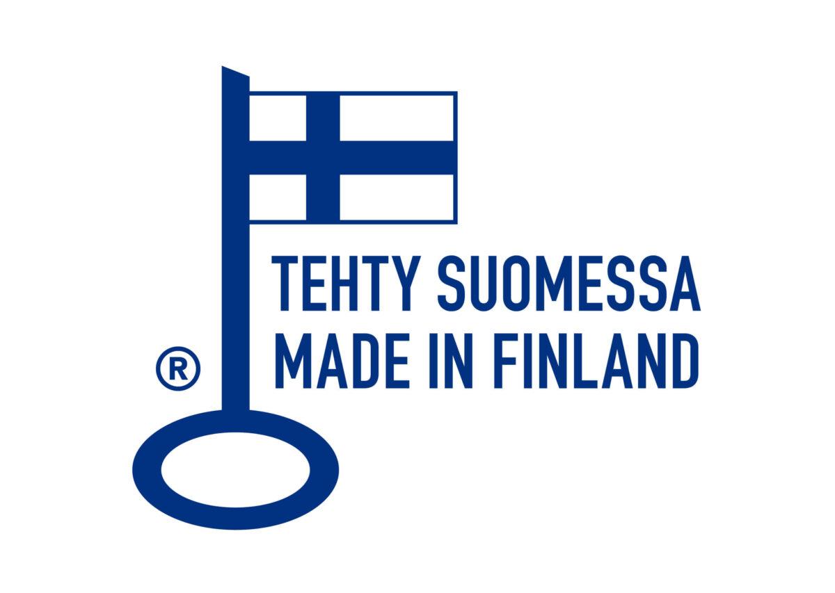 Avainlippu merkki Tehty Suomessa tekstillä